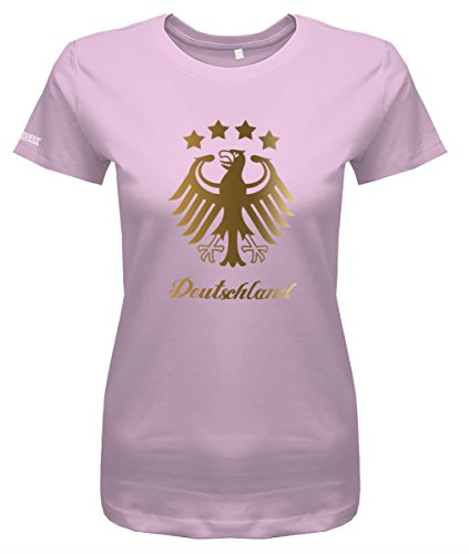 WM 2018 Deutschland Adler - 4 Sterne Gold - Damen T-Shirt in Rosa by Jayess Gr. L