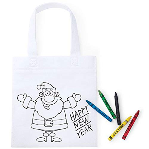 Lote de 50 Bolsas Infantiles Navidad para Colorear con 5 Ceras Incluidas en Cada Bolsa - Bolsas para Pintar y Colorear Infantiles Navideñas Papa Noel - Regalos Originales Baratos Navidad Niños