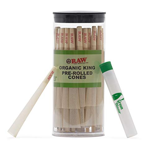Raw Pre-Rolled Cones Organic King: 50 Pack - Hemp Rolling Papers with Filters - Extra Clean and Slow Burning Cone Made of Pure Hemp - Bonus Doob Tube Included