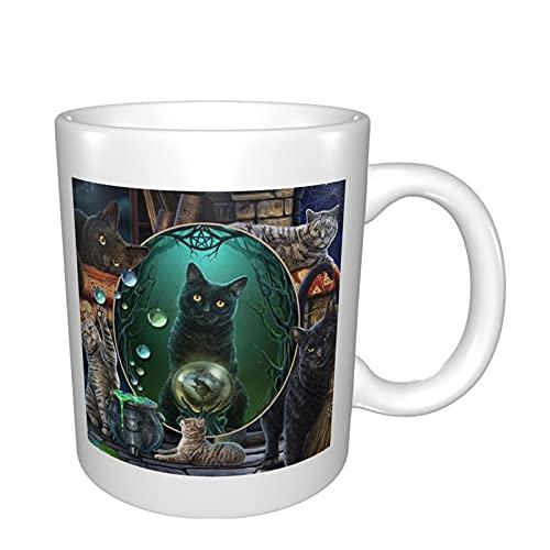 Taza divertida de cerámica con diseño de gatos en espejo mágico, para café, té, cacao, taza de café grande con asa, taza de té para oficina y hogar, regalo para hombres y mujeres