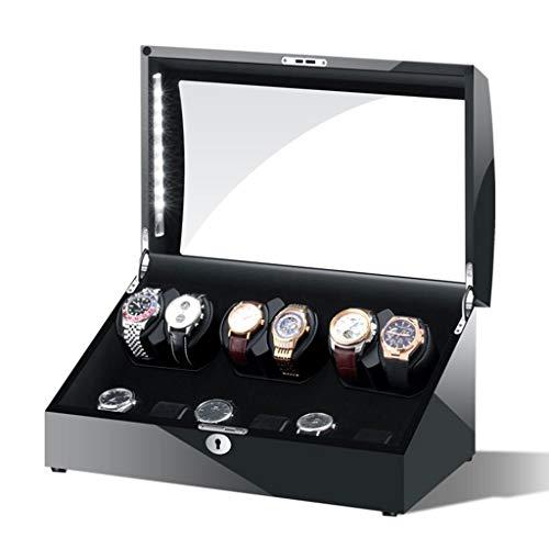 LSRRYD Relojes Cajas Giratorias Watch Winder Caja Giratora Caja para Relojes Automáticos con luz LED y Motor Silencioso para 6+6 Caja Almacenamiento de Relojes Alta Gama (Color : Black)