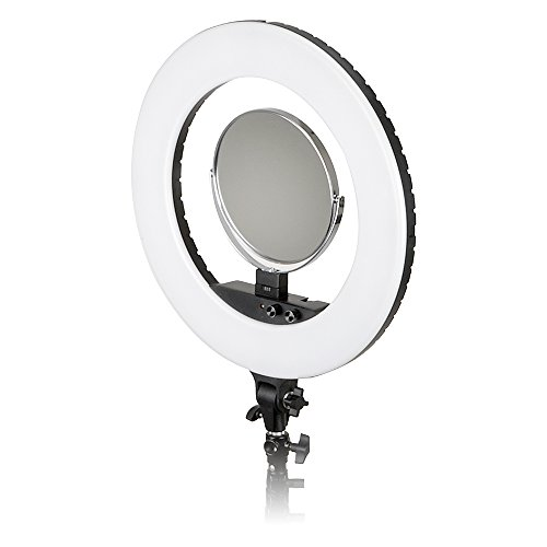 Fotodiox Selfie Starlite Vlog Pro Light - Black 18in Bi-Color Dimmable LED Ring Light for Portrait, Photography, Makeup, YouTube, Live Streaming Video; Includes Light, Phone Clamp and Vanity Mirror