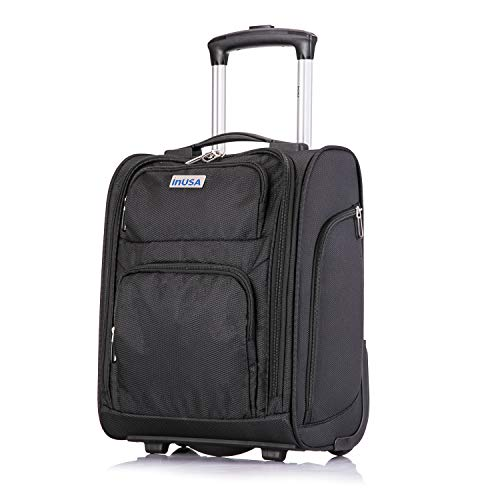 InUSA X-Small 15' inch UnderSeat Carry On Luggage - Ergonomic Ultra-Light & Small (15'') UnderSeater Bag - 2 Inline Wheels - Designed for the Under Seat of Most Airlines