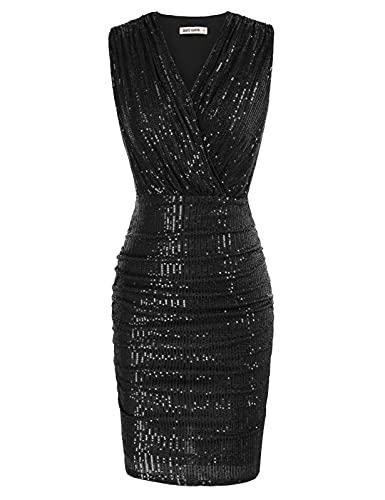 Mujer Vestido Ajustado Color Sólido Elegante Sexy con Cuello V Negro(CL783-01) XL
