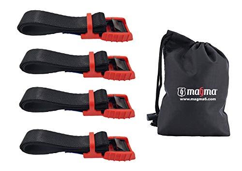 MAGMA Cambuckle Straps | Laadband voor fiets rek surfplank Motor auto kajak en dragers | Verstelbare en zwaar belaste riemkabels voor omsnoerings gereedschappen vracht | Bevestigingsband - SWL: 250kgf (1m - 4 eenheden, rood)