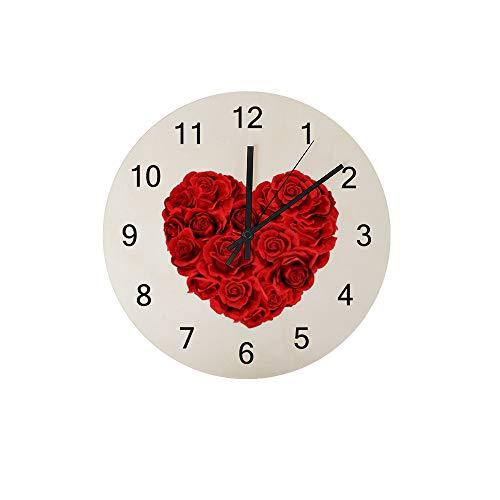 HaoXiang Wanduhr für Innendekoration Liebe Herz aus roten Rosen Holz Uhr 30x30x0,5cm