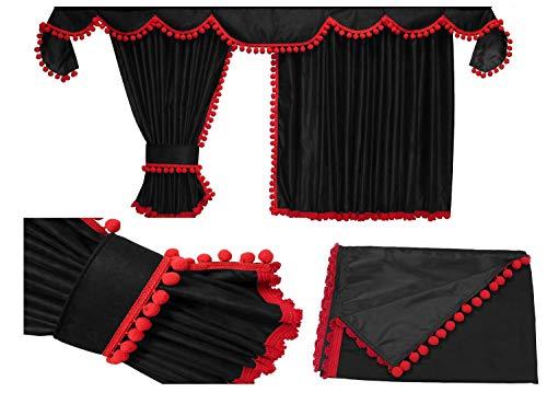Adomo LKW Gardinen passend zum DAF XF 106 in schwarz mit roten Pompoms/Kugel