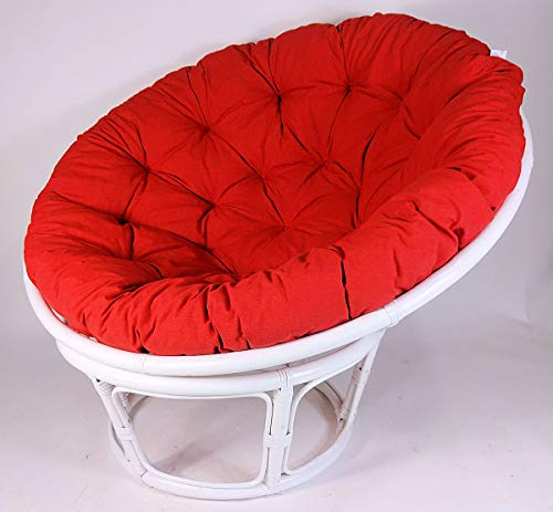 Rattan Papasansessel,Papasan Durchmesser 110 cm, Fb. weiß lackiert, Polster Uni Living 201 hell rot