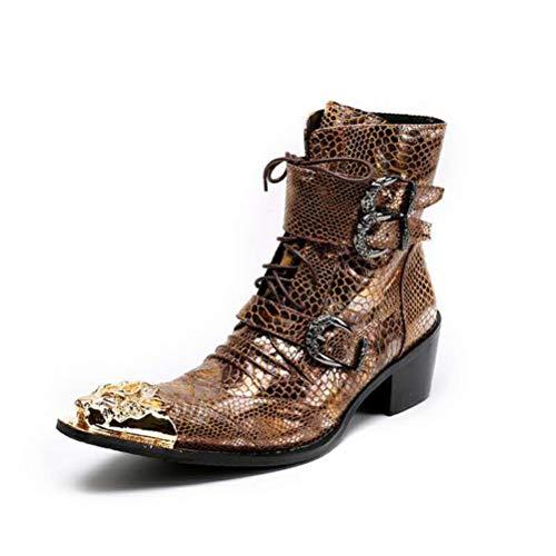 Botas de tobillo de cuero genuino con cremallera para hombre, botines con cremallera en punta de metal, botines con cremallera, para hombre, 40
