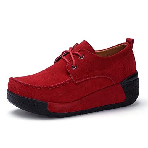Scarpe Stringate da Donna Oxford Scarpe Camoscio Mocassini con Punta Tonda Sneakers con Zeppa retrò Scarpe da Muffin Casual Classiche Resistenti