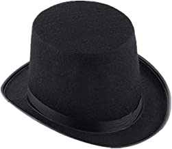 RINKOUa Halloween Magic Hat Fantastic Black Top Hat Hard Felt top Hat Top Costume Hat