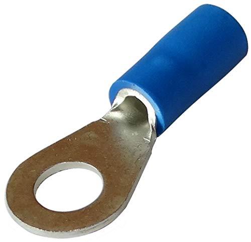 Aerzetix: 10 Kabelschuhe Elektroflachhülsen Auge Öse M5 Ø5,3mm 1-2.5mm2 blau isoliert