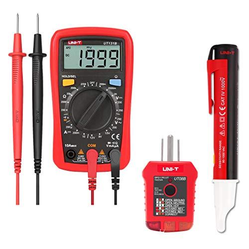 Signstek Electrical Test Kit with Palm Size Digital Multimeter, Receptacle Tester and AC Voltage Detector Pen