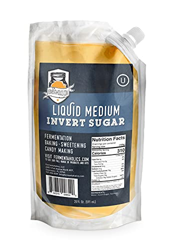 Fermentaholics Liquid Invert Sugar Syrup - Great For Fermentation, Baking, Sweetening, Candy Making, Ice Cream - 20 fl oz - Ferment Hard Seltzer - Inverted Sugar Syrup Resealable Easy Pour Spout