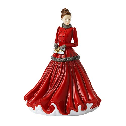 Royal Doulton Christmas Annuals 2020 Petite of The Year 2020-Winter Elegance, Porcellana, Rosso, 18 cm