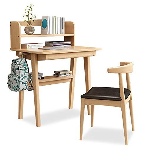 AOWU Kinderschreibtisch Stuhl Set Kindermedien Schreibtisch und Stuhl Set mit Regalen aus Holz Schlafzimmermöbel for Kinder Für Schlafzimmer Hausaufgaben (Color : Natural, Size : One Size)