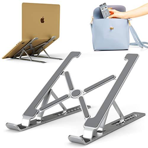 CR Aluminum Laptop Stand - Ergonomic Computer Riser - Foldable Notebook Holder for Table - Lightweight Portable Laptop Stand - Laptop Desk Stand Adjustable Height - Laptop Holder for Desk - Silver