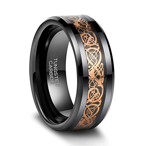 Frank S.Burton Dragon Men's 8mm Rose Gold Carbon Fiber Black Celtic Dragon Tungsten Carbide Ring Comfort Fit Wedding Band Size 6