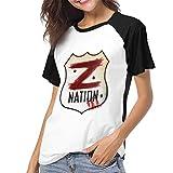 fenglinghua Camisetas para Mujeres Women's T Shirts Giacomo Badali Mens Z Nation Vs TWD Logo Raglan Shirt Short Sleeve Baseball tee Unique Design Top