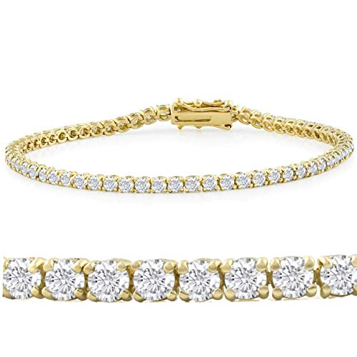 5 CT Round Shaped Natural Diamond Real 10 KT Yellow Gold Tennis Bracelet HI Color I Clarity Premium Collection 7 Inches