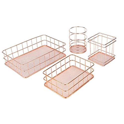 GUOXIANG Portalápices de metal hueco, cuadrado, redondo, redondo, de hierro, para escritorio, organizador, varillas, maquillaje, 4 unidades, color oro rosa
