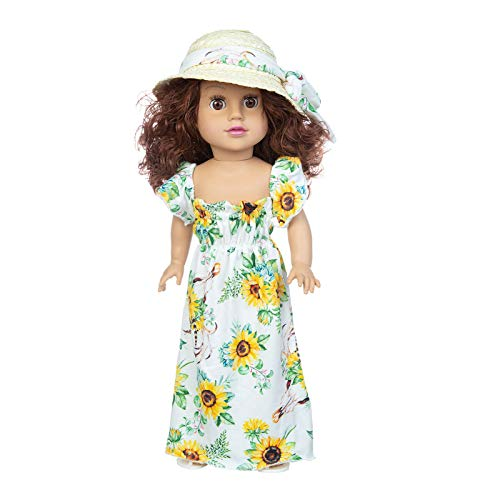 jieGorge Cute Curly Hair Doll Printed Dress Princess Doll Vinyl Doll Children Toy 45CM, Home Products for Christmas Day (A)