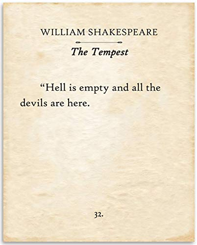 William Shakespeare - The Tempest - Hell Is Empty and All the Devils are Here- 11x14 Unframed Typography Book Page Print - Great Decor and Gift for Drama and Romantic Comedy Fans Under $15