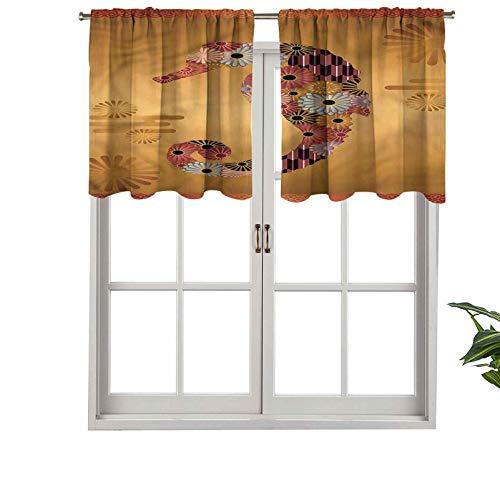 Hiiiman Cortinas cortas opacas con bolsillo para barra, diseño de caballito de mar ornamentado floral, juego de 2, 137 x 91 cm, cenefas pequeñas de media ventana para dormitorio