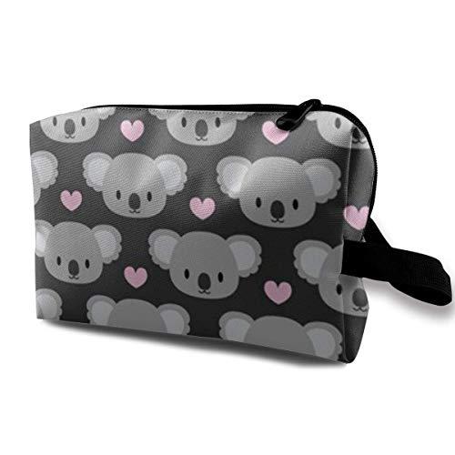 Nette Koalas und rosa Herzen tragbare Reisekosmetiktaschen Make-up-Organizer-Taschen Toilettenpapier-Organizer-Hüllen mit großer Kapazität Reisetasche Geldbörse