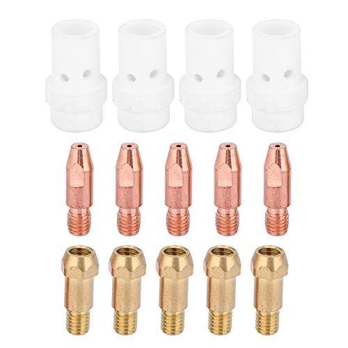 Nicoone Juego de 14 puntas de contacto de gas difusor Tip Holder para Binzel 36KD MIG linterna de soldadura (1 mm)