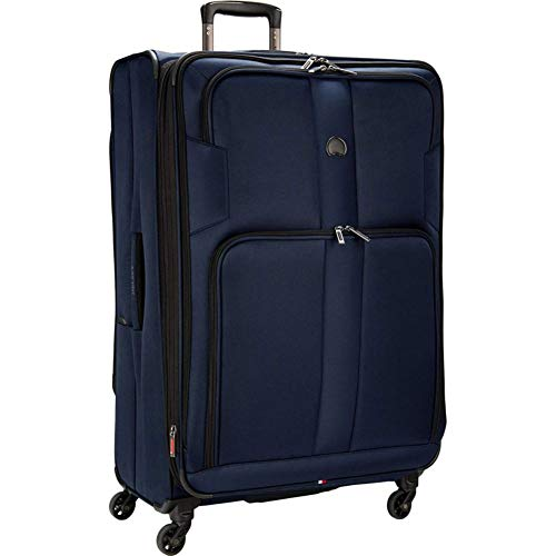 DELSEY Paris Sky Max 2.0 Softside Expandable Luggage with Spinner Wheels, Navy Blue, Checked-Large 29 Inch