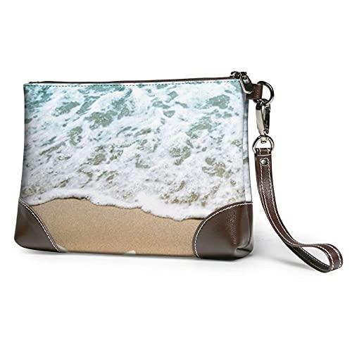 Hdadwy 3d hermosa estrella de mar en la playa arena impresa mujeres bolso monederos carteras cuero embrague bolsas 8 pulgadas x 5.5 pulgadas x 1.5 pulgadas