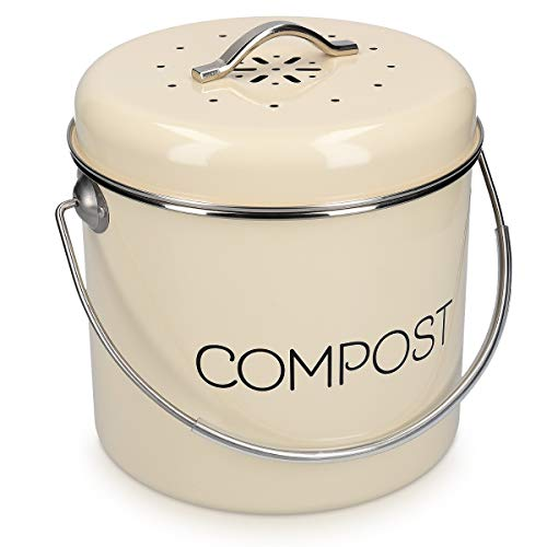 Best Deals! Navaris Compost Bin for Kitchen Counter - 0.8 Gallon (3L) Metal Countertop Indoor Compos...