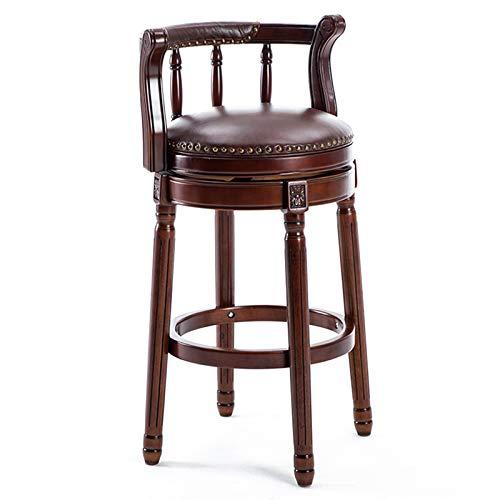 Counter Height Dining Chair Amerikanischer Barhocker mit Rückenlehne und um 360 Grad drehbarem gepolstertem hochwertigem Ledersitz für die Wohnküche (Höhe 65/75 cm),Brown,75cm(29.53in)