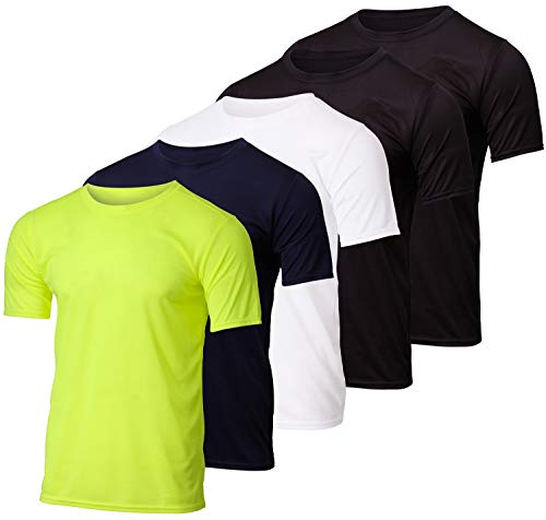 5 Pack:Boys Mesh Crew T-Shirt Girls Youth Teen Active Wear Athletic Quick Dry fit Dri-Fit Moisture Wicking Performance Basketball Gym Sport Short Sleeve Undershirt Tee Raglan Top -Set 6,Large 12-14