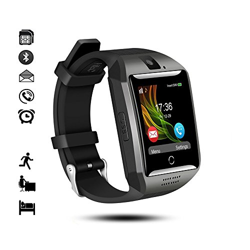 Bluetooth Smart Watch,gearlifee Android IOS Smartwatch Curved-Screen Orologio per uomo,con fotocamera,SIM Slot per scheda TF,pedometro,monitor del sonno per iPhone,Samsung,Huawei,Sony,Google(Nero)
