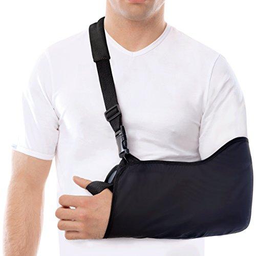 Armschlinge - Leichtgewicht - Stabilisieren Sie den Arm, die Schulter und das Handgelenk nach Verletzungen oder für einen gebrochenen Arm Small Schwarz