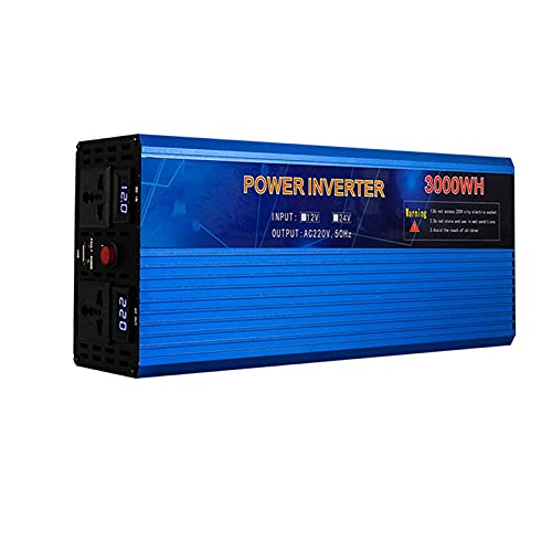 LLSS Convertidor de Corriente de 2000W / 3000W DC 12V / 24V / 48V / 60V a 220V Convertidor con Puerto USB y Adaptador de Enchufe de CA Doble para inversor sinusoidal modificad