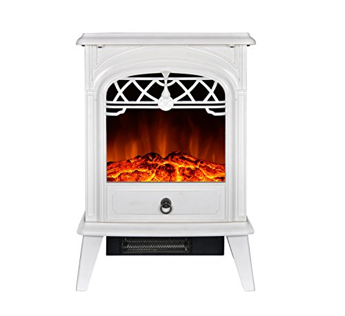 GMHome Free Standing Electric Fireplace Cute Electric Heater Log Fuel Effect Realistic Flame Space Heater, 1500W - White