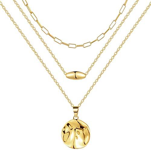OSTAN - Collana da donna con ciondolo a forma di piastrina rotonda, perfetta come regalo e Acciaio inossidabile, colore: Collana a tre strati, cod. OST2020XL002