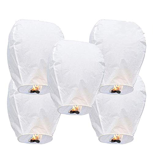 GCOA 5 Pack Linternas de Papel Farolillo celestiales Chinas - Linterna de Papel Resistente al Fuego, 100% Biodegradable, respetuosa con el Medio Ambiente y ecológica para su Lanzamiento en Sky,Blanco