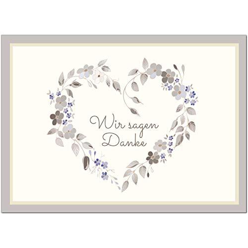 15 x Hochzeits-Dankeskarten - Motiv schönes Blumenherz in zart lila - Danksagungskarten für Ehepaare um Danke zu sagen nach Hochzeit, Polterabend oder Hochzeitsfeier