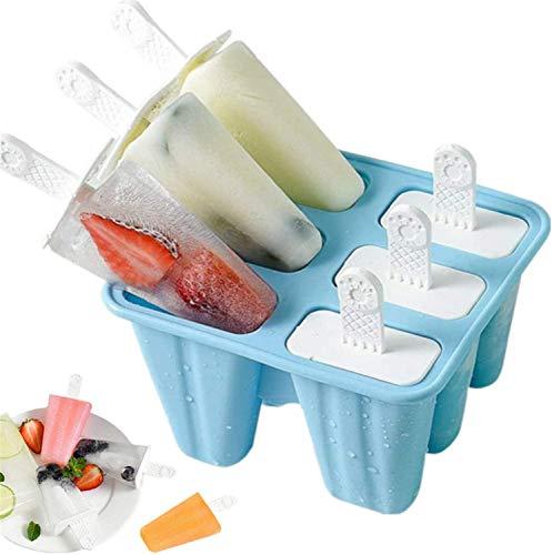 Eisformen, 6 Silikon Popsicle Formen Set, DIY hausgemachte kreative Popsicle Formen Set mit 1 Silikontrichter und 1 Reinigungsbürste, BPA-Frei