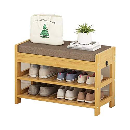 SMLZV Zapateros, Bastidores de zapatos Inicio de madera maciza Banco de algodón de lino del amortiguador del zapato del gabinete del cajón oculto almacenamiento de las heces sofá de la sala de heces P