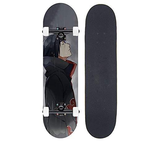 Tiakey 7-Capa Mapate Skateboard Book Tablero de Danza Cuatro Ruedas Scooter, Anime Naruto/Uchiha Itachi Professional Tarjeta Larga para Principiantes Skateboarding Adolescente Girl Brush Street Long