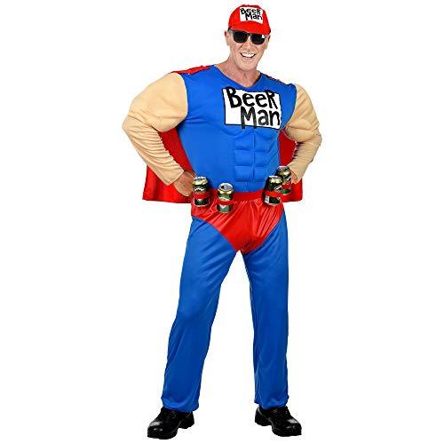 Widmann - Kostüm Super Beer Man, Muskel Overall mit Umhang, Gürtel mit Dosenhalter, Basecap, Superheld, Biermann, Mottoparty, Karneval