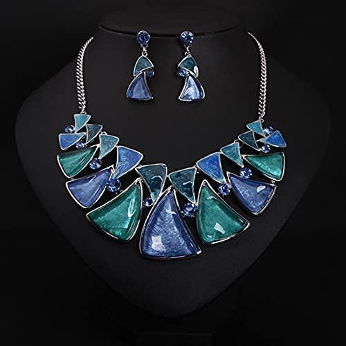 YZYZ Traje europeo y americano de alta calidad con hojas de cristal multicolor geométricas, collar y pendientes cortos, vestido de novia con accesorios