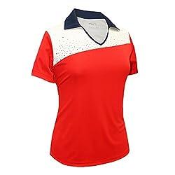 Red/Navy/White Rhinestones Contrast Polo Shirt #2094
