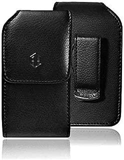 AccessoryHappy Vertical Leather Belt Case, 360 Rotating PU Leather Flip Phone Pouch Case Hip Holster Belt Clip Case Fits Most FLIP Phones (Black)