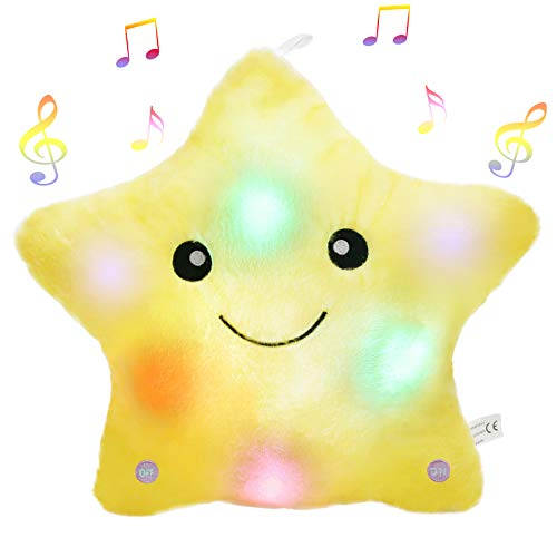 Bstaofy Glow Musical Twinkle Star Light up Lullaby Stuffed Toys Animated Soothe Kids Emotions Christmas Festival Gift for Toddlers, Yellow